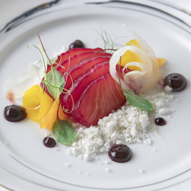 Beet-cured%20Salmon,%20Beet%20Dressing,%20Shaved%20Fennel,%20Orange