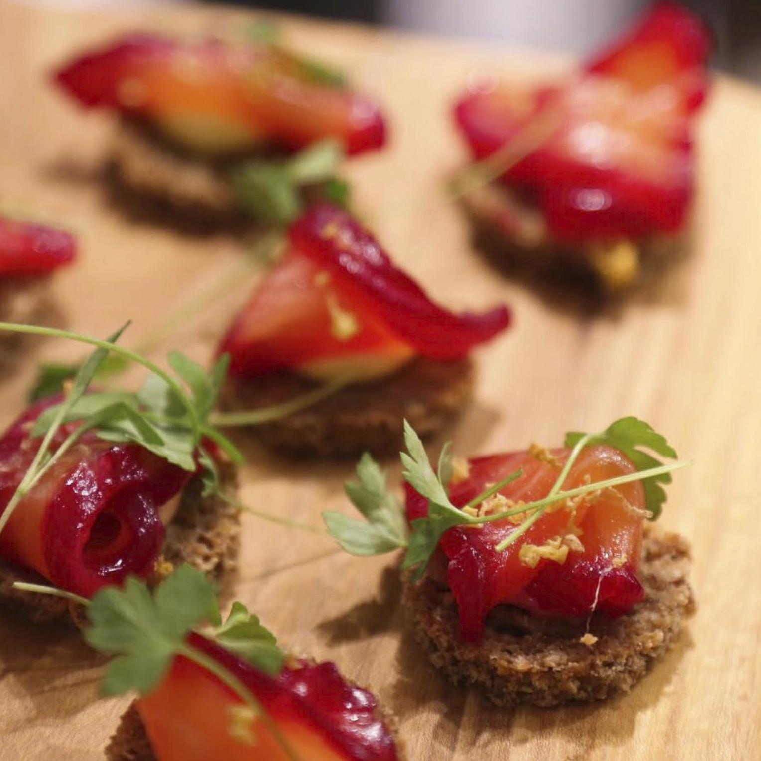 Jouer Beetroot Cured Salmon Crostini